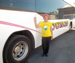 Erica with new PINK hair with her Young's Bus
